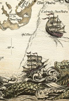 Ancient chart... no depth indications, many sea serpents...
