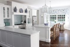white marble kitchen white cabinetry nickel pendanYou can find Pendants and more on our website. Beach House Kitchens, Home Kitchens, Farmhouse Kitchens, Die Hamptons, Blue Subway Tile, White Marble Kitchen, Australian Interior Design, Australian Homes, New Kitchen Cabinets