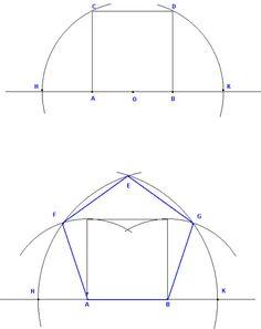 Dirk Bertels - Constructing the Pentagon Geometry Art, Sacred Geometry, Golden Number, Shelter Design, Geometric Drawing, Drawing Exercises, Technical Drawing, Drawing Lessons, Pentagon