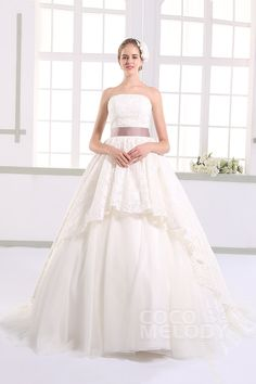 Queenly+A-Line+Strapless+Natural+Train+Lace+Ivory+Sleeveless+Lace+Up-Corset+Wedding+Dress+with+Ribbons+JWXT1504E