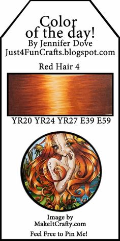 and DoveArt Studios: Color of the Day 132 - Red Hair 4 Copic Marker Art, Copic Pens, Copic Sketch Markers, Copic Art, Copics, Shading Techniques, Colouring Techniques, Copic Color Chart, Copic Colors
