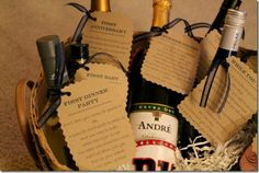a wine basket gift for a bridal shower - first anniversary, first dinner party, etc. fun idea!