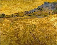 """Wheat field with reaper and sun"" (late June - early September, 1889) [F 617] By Vincent van Gogh, from Zundert, Netherlands (1853 - 1890) - oil on canvas; 72 x 92 cm - [Post-Impressionism] Place of creation: Saint-Rémy-de-Provence, Provence, France © Kröller-Müller Museum, Otterlo, Netherlands http://www.kmm.nl/"