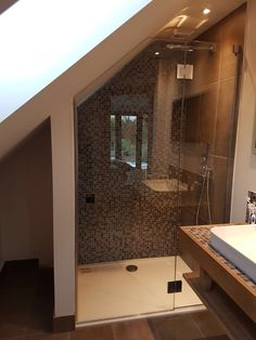 Frameless loft shower with angled door hinged from in-linel panel, installed near Bath, Somerset. Attic Shower, Small Attic Bathroom, Small Shower Room, Small Bathroom Renovations, Cabin Bathrooms, Loft Bathroom, Ensuite Bathrooms, Attic Bedroom Designs, Attic Rooms