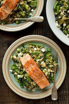 Quinoa, lentil, kale, and feta salad with salmon