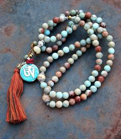 Beautiful jasper mala necklace decorated with a Nepalese om (ohm) / dorje (vajra) pendant - made by look4treasures