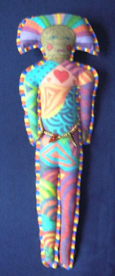 Aztec Warrior. Painted and beaded doll by Ann Blackwell, DragonFibre Studios.