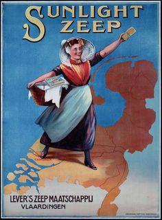 Sunlight zeep , Let vooral op de kaart van Nederland Vintage Advertising Posters, Old Advertisements, Advertising Signs, Vintage Posters, Vintage Signs, Vintage Ads, Vintage Food, Retro Ads, Poster Ads