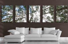 Large 5 panel wall art aspen tree canvas decor five multipiece