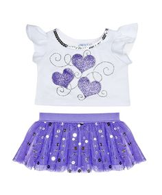 Sparkly Purple Hearts Skirt Outfit 2 pc. | Build-A-Bear Workshop