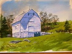 Painting a White Barn - Part 1  Frostville Barnhouse Part 1  Step-by-step watercolour painting lesson by Greg Conley