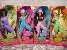 Cool color collection - Christie Barbie Teresa and Skipper Barbie 1990, Baby Barbie, Barbie Sets, Father Daughter Photos, Barbie Movies, Mattel Dolls, 90s Cartoons, Barbie Accessories, Childhood Toys