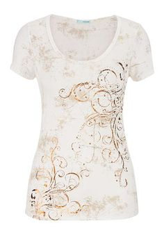 metallic scroll and rhinestone graphic print tee (original price, $34) available at #Maurices