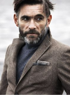 Multiple fall tones, multiple textures! Love the scruffy look with the pocket square!