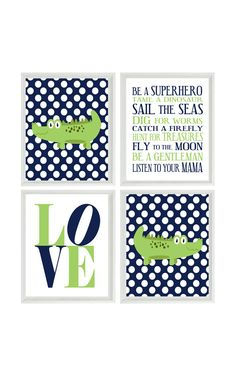 Nursery Art Alligators - Boy Rules - Love - Navy Blue White POlka Dots Green - Preppy Baby Boy Room - Custom Wall Art - Set Of 4 8x10