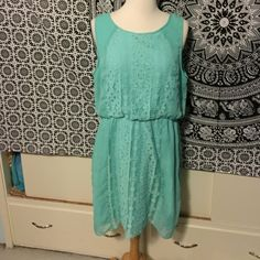 Lace Panel Blue Dress (A64) Beautiful dress in a happy shade of turquoise with a bohemian panel of lace in the front. Elastic waist gives the dress a nice casual shape. Small keyhole in the back. Francesca's Collections Dresses Mini