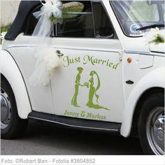 Autoaufkleber Hochzeit - Just Married Romantik Design