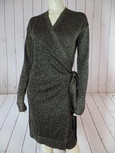 DIANE VON FURSTENBERG Wrap Sweater or Dress M Black Gold Metallic Acetate Poly Stretch Blend Sheer Thin Knit SEXY & FESTIVE!