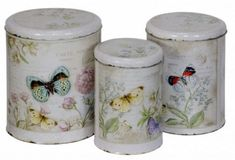 Tin Set Hazelwood Home Sugar Storage, Stainless Steel Canisters, Kitchen Canister Sets, Coffee Jars, Wrendale Designs, Sugar Canister, Office Furniture Stores, Butterfly Decorations, Hazelwood Home