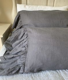 Dark gray linen Pillowcases with Mermaid Long Ruffles Headboard Cover, Linen Headboard, Linen Duvet, Ruffle Pillow, Romantic Room, King Pillows, Grey Bedding, Cool Fabric, Interiores Design