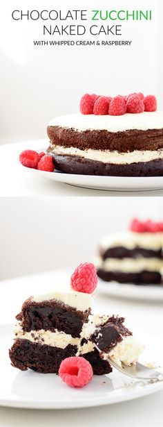 Chocolate zucchini naked cake with whipped cream and raspberry