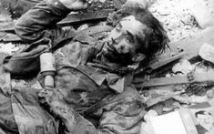 "waffenss1972: ""The corpse of a German paratrooper with Stielhandgranaten 43 """