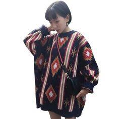 8dcaeeee429 Thick Aztec Sweater  top  sweater  Women  new  pullover  sweatshirt