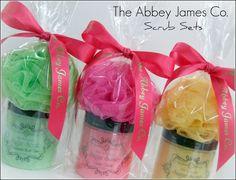 Abbey James Skin Softeninig Sugar Scrub Gift Set, spa party gift, gift basket, party favor. $16.95, via Etsy.