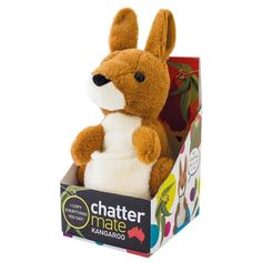 Chatter Mate Kangaroo. Switch on this funny little gizmo and watch as this iconic Australian animal copies everything you say. Simply switch on the ChatterMate Kangaroo and he'll repeat what you say in his adorable kangaroo voice, bobbing his head up and down with enthusiasm.This interactive soft toy is a great kids gadget and a unique Australian souvenir. Children will laugh themselves silly with this clever kangaroo toy. 3 Years + $34.99