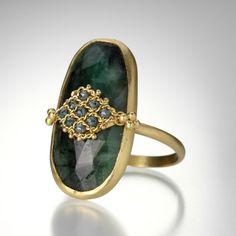 Emerald and Blue Diamond Ring by Amali @quadrum