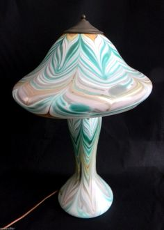 Drew Smith Art Noveau Unique Art Glass Pulled Feather Lamp Circa 1974 | eBay