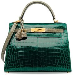1ac1deee43 A Custom Shiny Vert Émeraude   Gris Tourterelle Niloticus Crocodile Sellier  Kelly 28 With Brushed Gold
