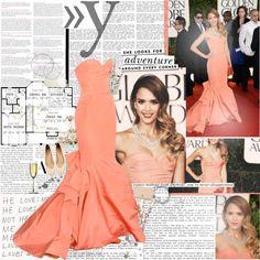 """Jessica Alba in Oscar de la Renta at the 2013 Golden Globes"" by katrinaballerina ❤ liked on Polyvore"