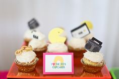 80s cupcakes - love the Pacman topper