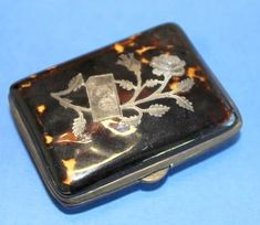 Tortoise Shell Small Snuff Box, Sterling Design and Monogram - : The-Swan-Collection   Ruby Lane