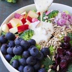 Best ever no mayo broccoli salad with blueberries and apple. A healthy summer side dish with a creamy poppy seed dressing!