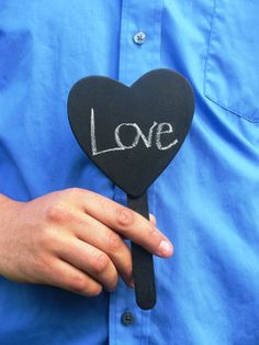 10 Chalkboad heart signs with handle by PlantablesAndPaper on Etsy, $20.00