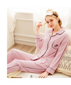 long sleeved women s cotton pink pajama sets for spring and Autumn df60e6947