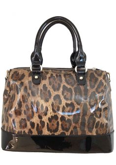 Sylvie Rousselle -- Women's Black Patent Leather Handbag with Leopard Pattern
