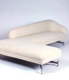"""Vladimir Kagan Couture Collection Couture Swan Tri-Symmetric Sofa Polished aluminum base Dimensions  112""""L 70""""D 32""""H Seat height: 16"""" COM: 18 yards"""