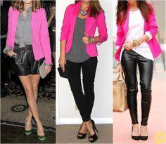 Blazer Rosa com Shorts ou Legging Preta e Blusa Branca ou Cinza