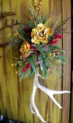 Rustic Deer Antler Floral Arrangement by TrinityCustomStone, $127.99