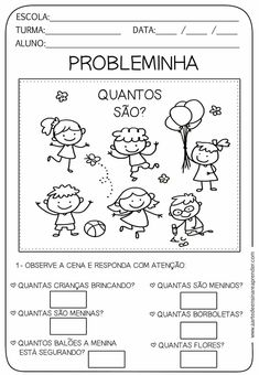 Probleminhas Preschool Math, Kindergarten, Grade 1 Reading, Reading Comprehension Passages, English Activities, Math Class, Child Day, Math Worksheets, Facebook Sign Up