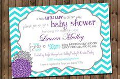 @Brooke Baird Dobbins @Kayt Townsend Harris This is my #2 just change the blue to yellow. Baby Girl Shower Invitation Chevron Invitation by RockStarPress, $12.00