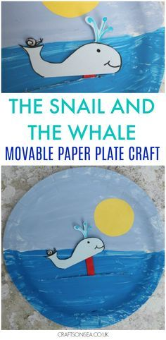 The Snail and the Whale Crafts: Movable Paper Plate Need The Snail and the Whale crafts? This fun movable paper plate craft is perfect for kids to make alongside the book by Julia Donaldson. Paper Plate Crafts For Kids, Crafts For Kids To Make, Book Crafts, Kids Crafts, Easy Crafts, Art For Kids, Arts And Crafts, Tree Crafts, Creative Crafts