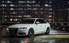 motoriginal:  Audi A4 B8 on VMR Wheels on a cold wet night.