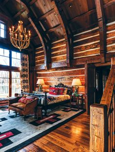 I don't need the double height ceiling but I love the decorating. stylish-homes: Double-height master bedroom utilized shipbuilding techniques in the construction of the ceiling in this home in Jackson Hole. Cabin Interiors, Rustic Interiors, Log Home Bedroom, Bedroom Ideas, Log Cabin Bedrooms, Bedroom Designs, Modern Bedroom, Rustic Bedrooms, Bedroom Decor