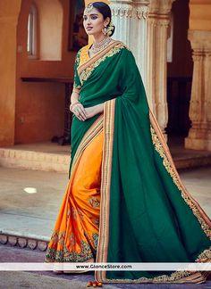 Royal Green And Mustard Embroidered Work Tussar Silk Half N Half Designer Saree