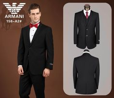 Armani Two Buttons Suit Black 08