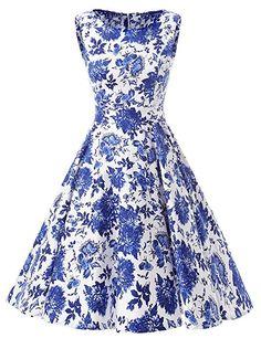 MicBridal® 1950er Vintage Streifen Rund Ausschnitt Retro Schwingen Pinup Rockabilly Kleid: Amazon.de: Bekleidung